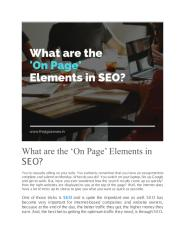 What are the 'On Page' Elements in SEO.docx.pdf